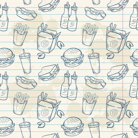 american food: Fastfood delicious hand drawn vector seamless pattern with burger, hot dog and french fries on note paper sheet