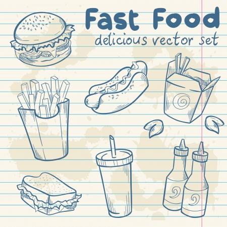 ファーストフードおいしい手描きベクトル メモ紙のシート上のハンバーガー、ホットドッグとフライド ポテトで設定