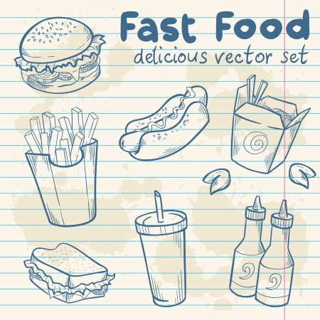 burger: Fastfood delicious hand drawn vector set with burger, hot dog and french fries  on note paper sheet