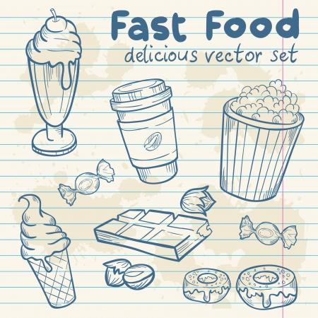 avellanas: Comida rápida deliciosa dibujado a mano conjunto de vectores Vectores