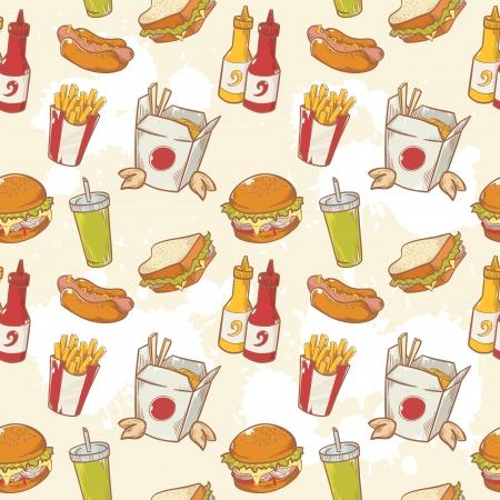 ファーストフード ハンバーガー、ホットドッグとフライド ポテトと美味しい手描画ベクトル シームレスなパターン