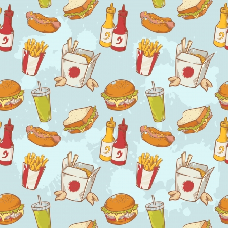 Fastfood delicious hand drawn vector seamless pattern with burger, hot dog and french fries