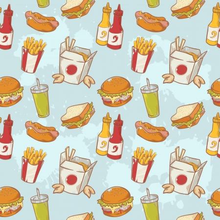 Fastfood lecker Hand gezeichnet Vektor nahtlose Muster mit Burger, Hot Dog und Pommes Frites französisch Standard-Bild - 20926667