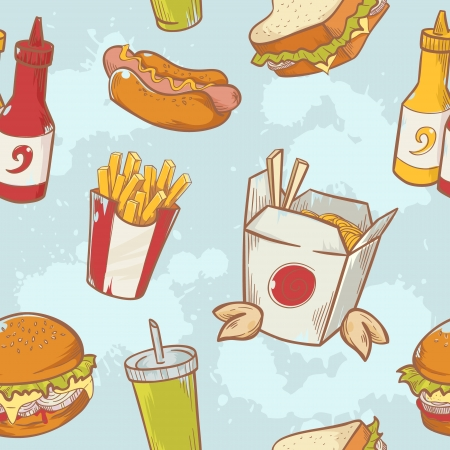 Fastfood delicious hand drawn vector seamless pattern with burger, hot dog and french fries Vector