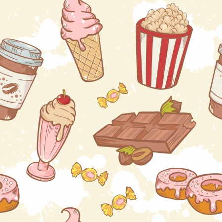 Fastfood sweets delicious hand drawn vector seamless pattern with tasty ice cream, Popcorn and chocolate Illustration