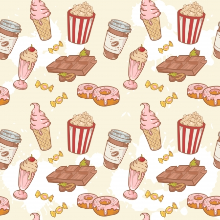 Fastfood sweets delicious hand drawn vector seamless pattern with tasty ice cream, Popcorn and chocolate Vector