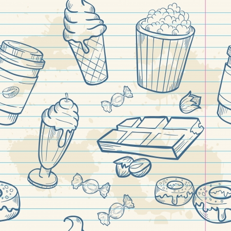 Fastfood sweets delicious hand drawn vector seamless pattern with tasty ice cream, Popcorn and chocolate on notepaper sheet Vector