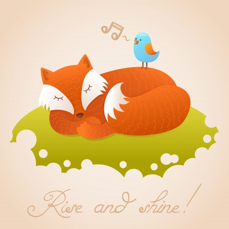fox fur: Cute baby card with sleeping red fox and singing little bird on a green meadow