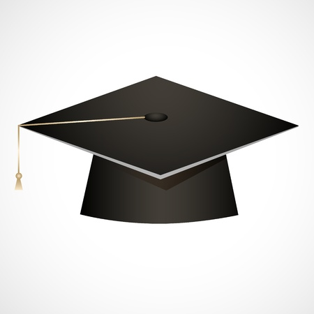 graduation hat: Traditional graduation hat isolated on white Illustration