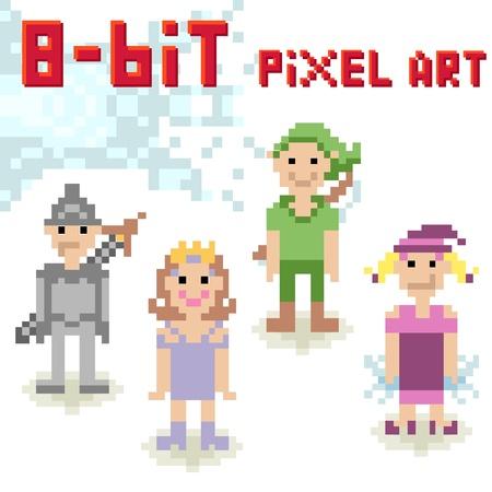 8bit: Carino set di caratteri pixel 8 bit di persone di fantasia Vettoriali