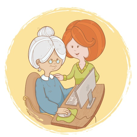old technology: Old woman granny learns the computer use with help of young girl