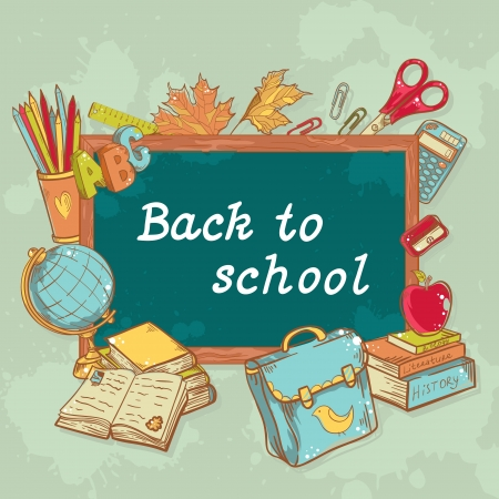 classroom supplies: Back to school board card with various study items in cartoon hand drawn style