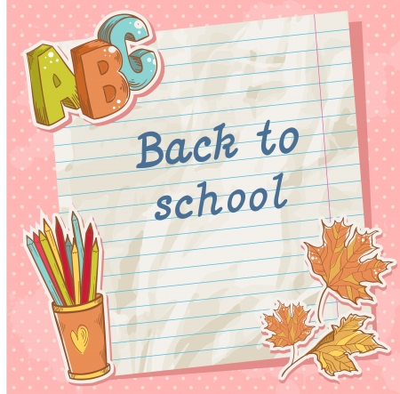 school things: Back to school card on paper sheet with various study items in cartoon hand drawn style