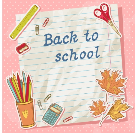 Back to school card on paper sheet with various study items in cartoon hand drawn style Vector
