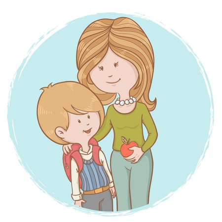 Mother and child pupil with backpack isolated characters