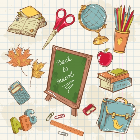 Back to school collection with various study items in cartoon hand drawn style Vector