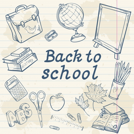 Back to school collection with various study items in cartoon hand drawn style