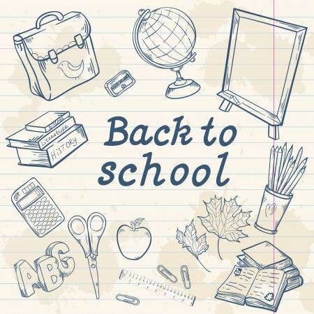 Zurück in die Schule mit verschiedenen Studie Artikel im Cartoon handgezeichneten Stil Standard-Bild - 21078431