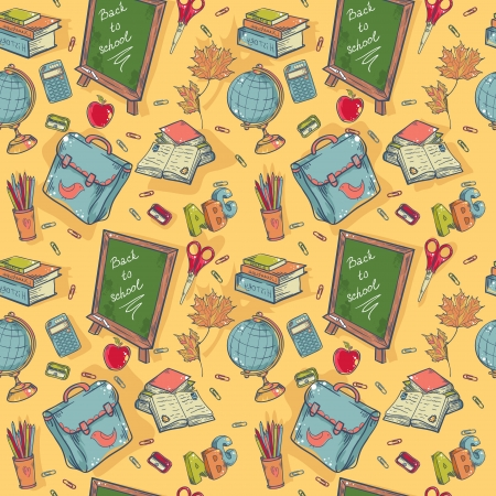 Back to school seamless pattern with various study items in cartoon hand drawn style Vector