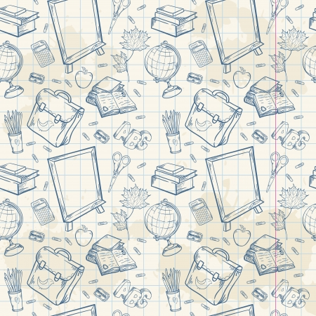 items: Back to school seamless pattern with various study items in cartoon hand drawn style Illustration