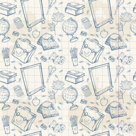 Zurück in der Schule nahtlose Muster mit verschiedenen Studie Artikel im Cartoon handgezeichneten Stil Standard-Bild - 21078434