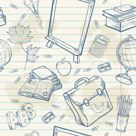 Back to school seamless pattern with various study items in cartoon hand drawn style Ilustracja