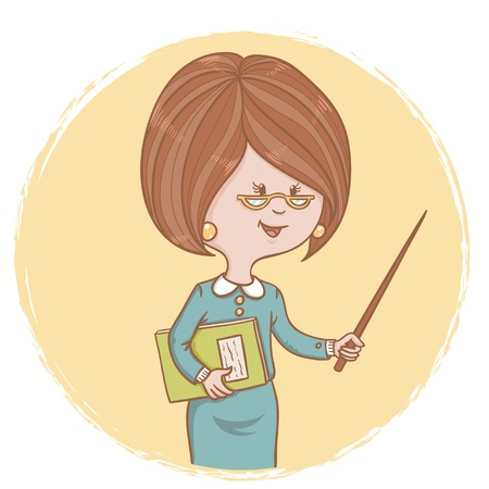 Illustration of cute woman teacher with a book and a pointer in her hands on a circle background Vector