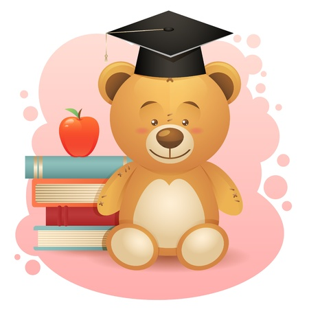 Back to school cute teddy bear toy illustration with books and apple Vector