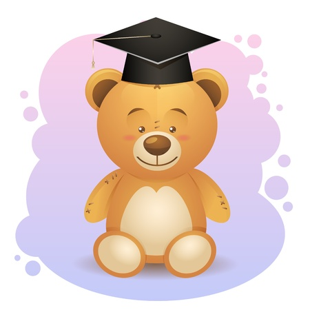 Back to school cute teddy bear toy in graduation hat Vector
