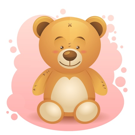 Cute teddy bear children toy realistic drawing isolated