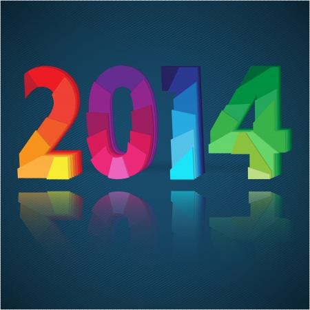 2014 New Year card with colorful origami paper numeral figures Vector