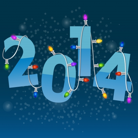 2014 New Year card with colorful christmas garland Vector