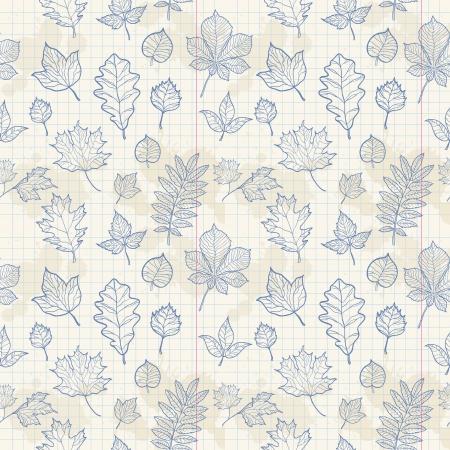 Autumn leaves modello senza saldatura su sfondo carta da lettere