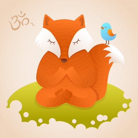 Cute fox sitting in yoga lotus pose and relaxing on green meadow Vector