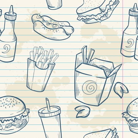 Fastfood delicious hand drawn vector seamless pattern with burger, hot dog and french fries on note paper sheet