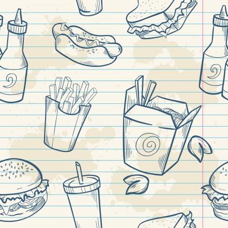 papas fritas: Comida r�pida deliciosa dibujado a mano vector sin patr�n con la hamburguesa, hot dog y papas fritas franc�s en la hoja de papel de nota