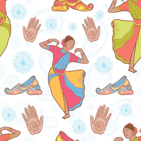 classical dancer: Vector Indian dancer girl seamless pattern Illustration