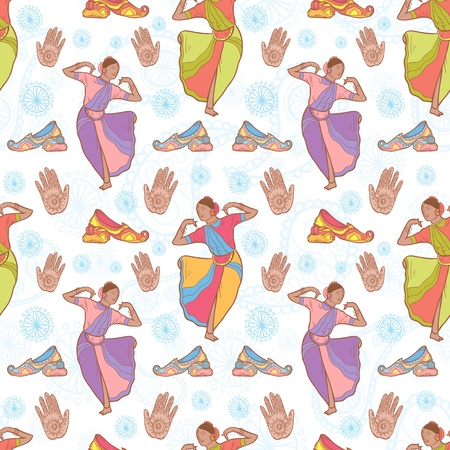 classical dance: Vector Indian dancer girl seamless pattern Illustration