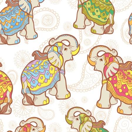 indian elephant: Vector de elefante indio sin patr�n Vectores