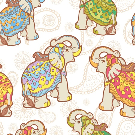 Vector Indian elephant seamless pattern