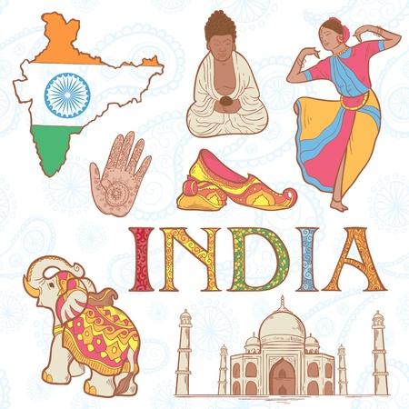 indian yoga: Indiano insieme variopinto di simboli con donna ballerino, elefante, statua del buddha Vettoriali