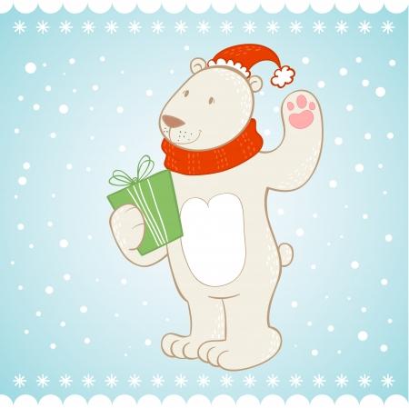 White polar bear with gift box Christmas greeting card Vector
