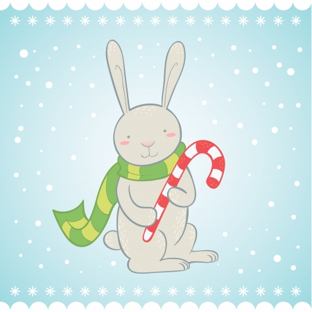 Cute bunny with candy cane Christmas greeting card Vector