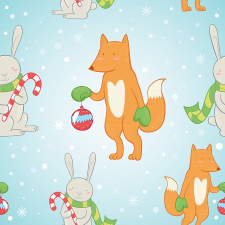 Cute Christmas seamless pattern with winter bunny and fox Vector
