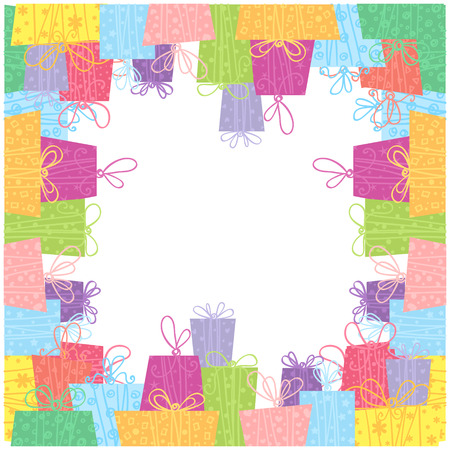 Colorful sale gift boxes celebration frame card with borders Vector