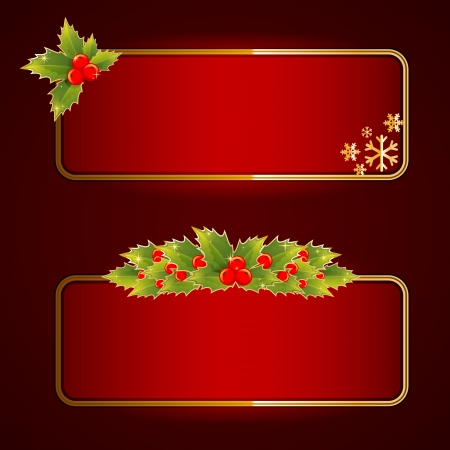 christmas gift tag: Christmas bright blank festive banners set with holly berries Illustration
