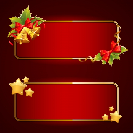 Christmas bright blank festive banners set with bells and stars Vector
