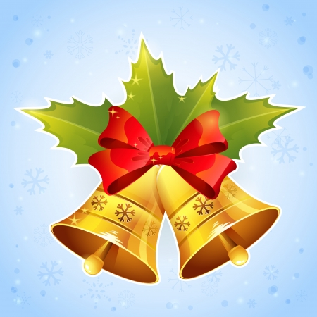 holly leaves: Christmas golden bells with holly leaves and festive red bow on snowflakes background Illustration