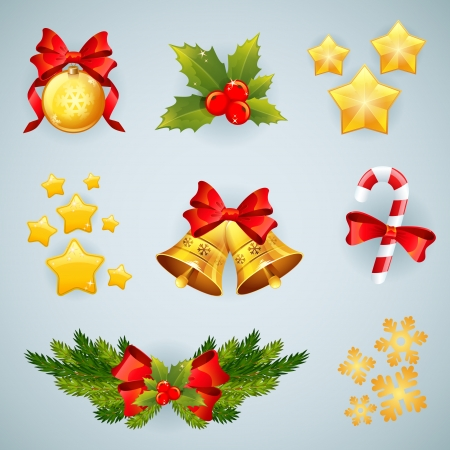 holly leaves: Christmas realistic festive set of traditional items