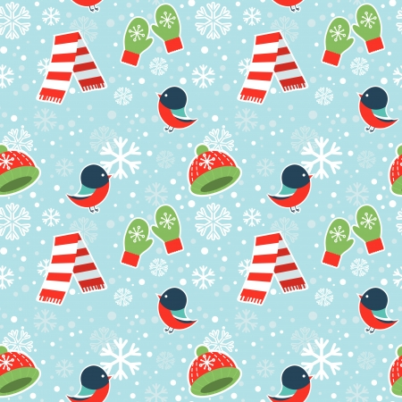 Cute winter seamless pattern with warm clothes and bullfinch birds on snowflakes background Vector